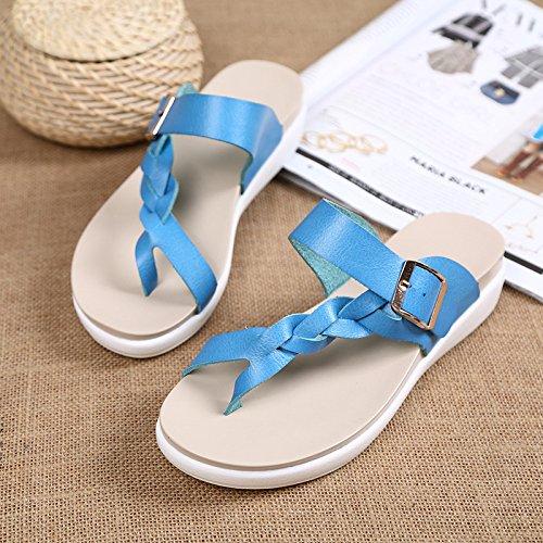 Dames D'été Modèles Sandales Cuir Plage HONG Ouvert Bout à JIA Femmes Antidérapantes De Sandales Sandales Pour Sandales Et Blue En Pour Plates Pantoufles w0TEn5q
