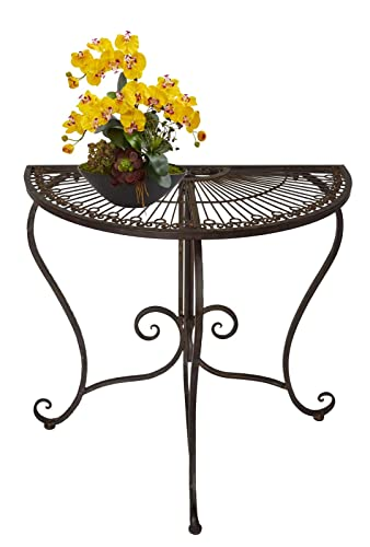 PierSurplus Metal Half Moon Console End Side Table Provencal Outdoor Indoor