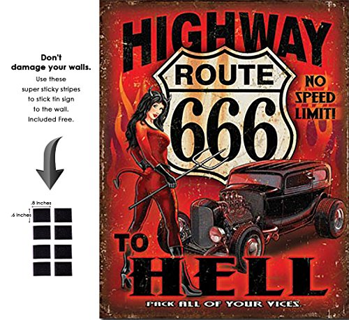 Shop72 - Route 666 - Highway to Hell Tin Sign Retro Vintage Distrssed - With Sticky Stripes No Damage to Walls
