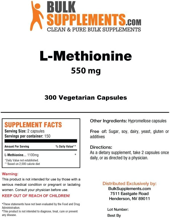 BulkSupplements L-Methionine 300 Vegetarian Capsules