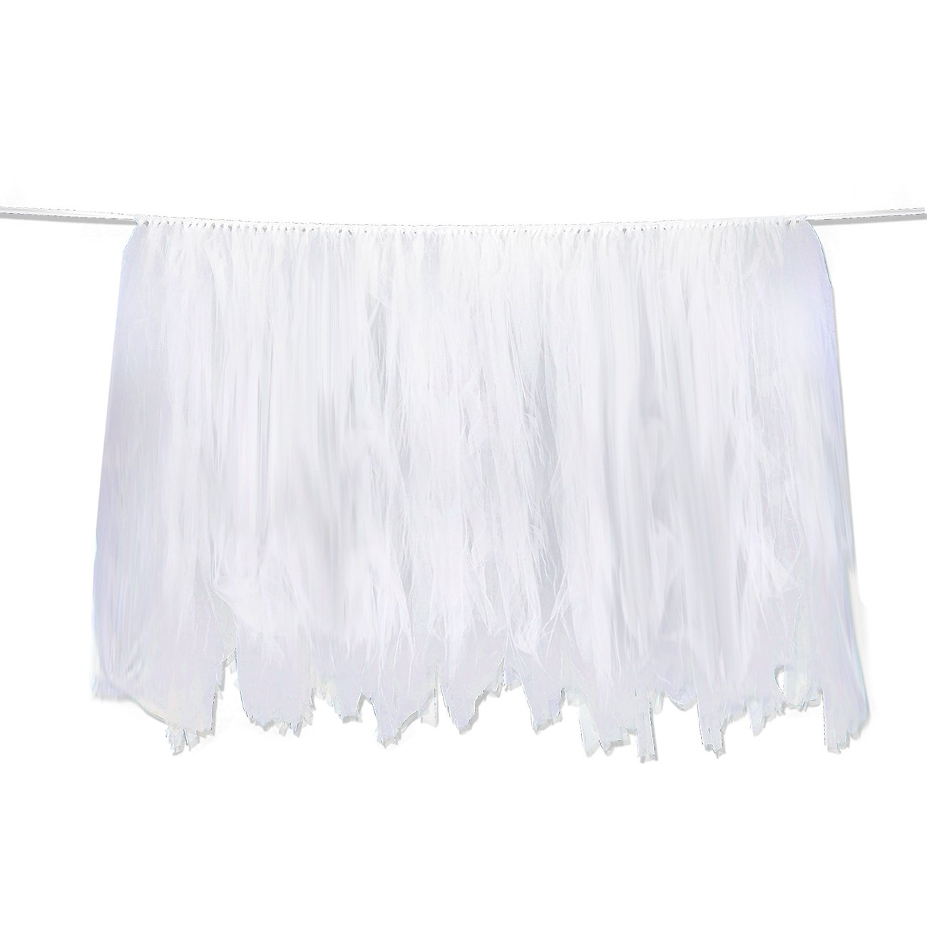 Tutu Table Skirt - Fluffy Tulle Tablecloth, Party Tableware, Table Decorations for Birthday, Wedding, Baby Shower, and Banquet, White, 47 x 31 Inches