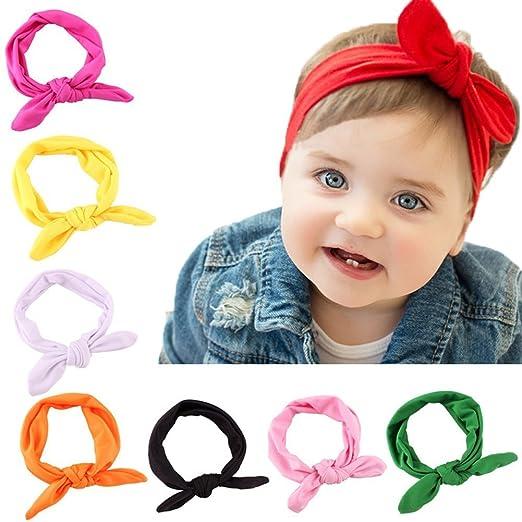 8 Pack Baby Girl Cute Headband Headwraps Elastic Bunny Ears Hair Band Holder 54827f852a6
