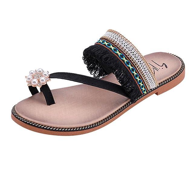 Damen Sandalen Sommer Elegant Flip Flops Schuhe Mode Strandschuhe Zehentrenner Pantoletten Pailletten Kristall...