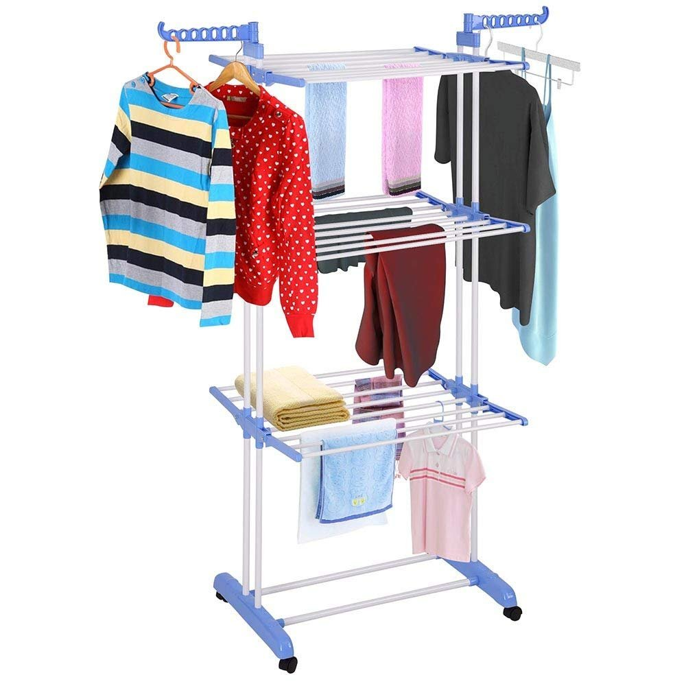 Yinmake Clothes Airer, 3 Tier Folding Stainless Steel Drying Rack, Indoor Laundry Garment Stand, Outdoor Heavy Duty Clothes Horse for Garden and Yard, Blue CHAOHUI