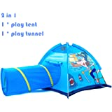 Kids Tent 2 in 1 Play Tent with Pop-up Crawling Tunnel Set ,Pirate Playhouse for Children Indoor and Outdoor Fun,Easy to Folding back with Storage Carry Bag