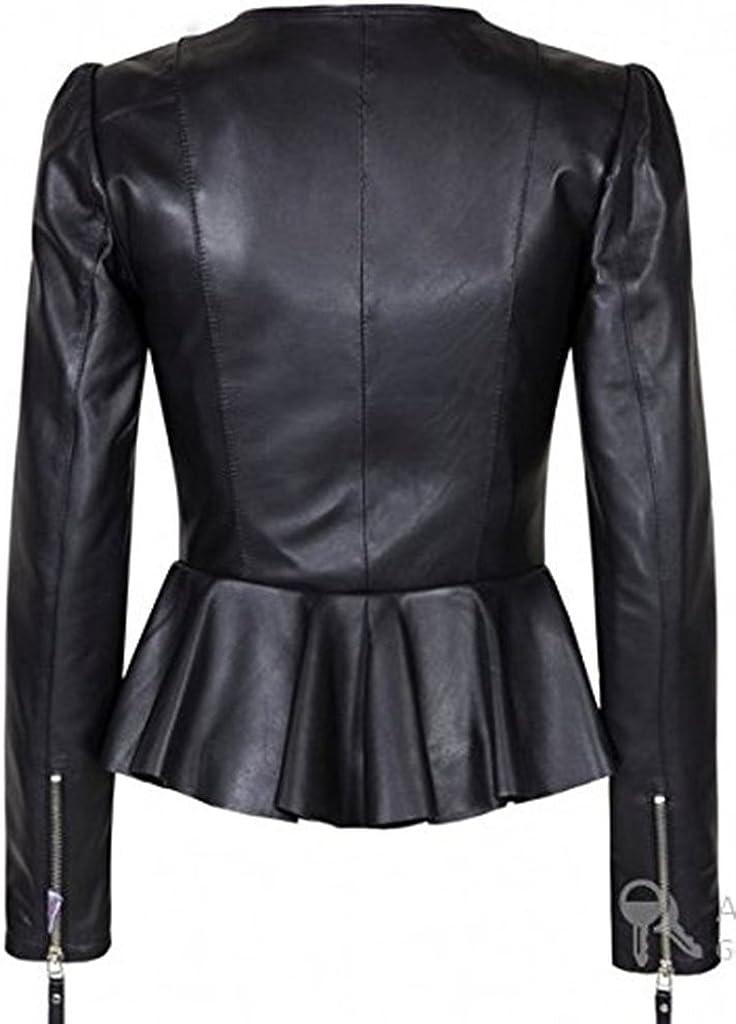 New Womens Genuine Sheep Leather Slim Fit Biker Jacket LFW354