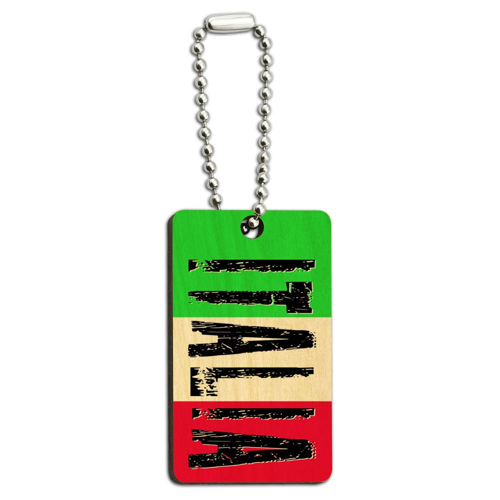 Italia - Italy Italian Flag Wood Wooden Rectangle Key Chain