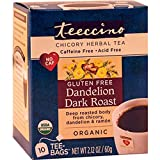 Teeccino Gluten Free Organic Chicory Herbal Tea Dandelion Dark Roast Tea Bags, Caffeine Free, Acid Free 10 count