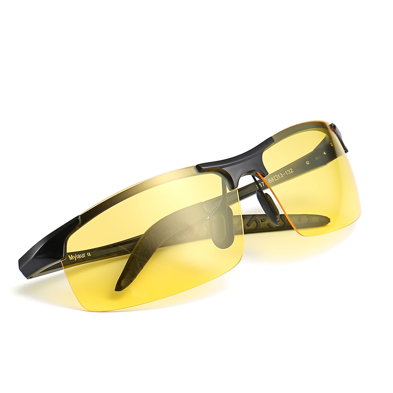 Deporte Gafas de HD Visión para Conduccion Nocturna Moda Hombre Polarizadas Lente Amarilla Anti Reflectante Ultraligero Metal- Protección UV 400