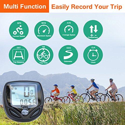 16 functions Wireless Bike Computer, Bicycle Speedometer Odometer with Clock Stopwatch, Waterproof LCD Display Cyclocomputer, Cycling Computer With Backlight