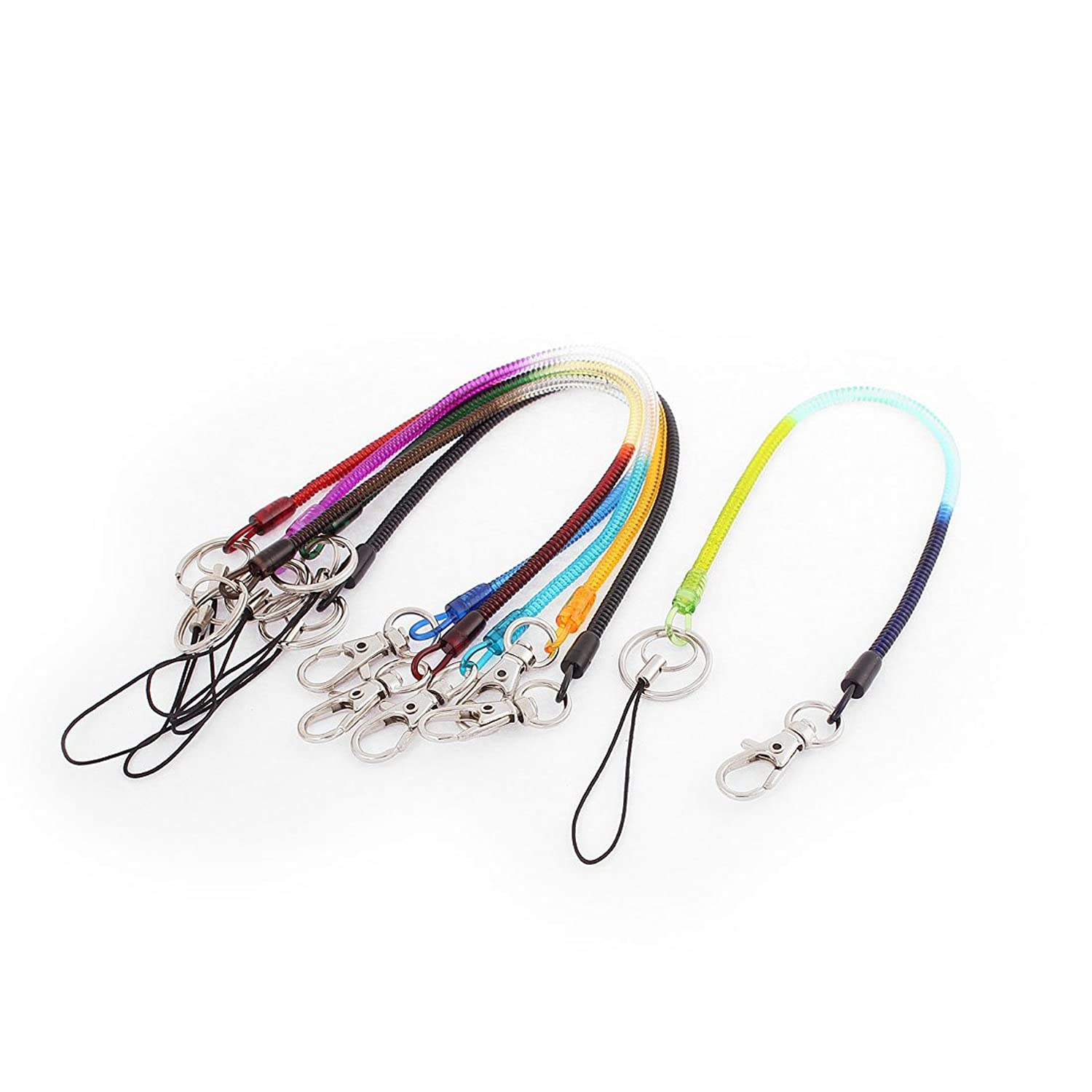 uxcell Lobster Claw Clasp Keychain Strap Sprial Cord 6 Pcs 30cm Multicolor