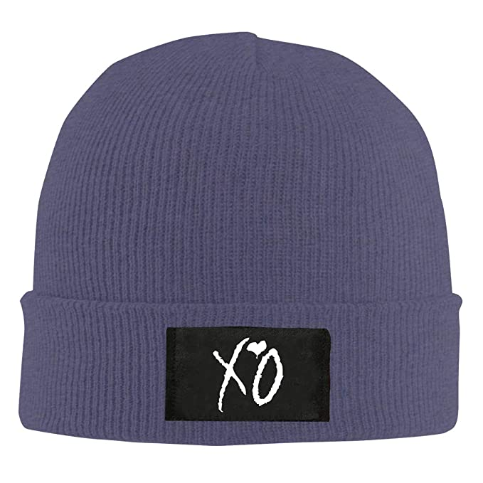 e159a7dd36030 Warm Winter Hat XO The Weeknd Heart Weekend Acrylic Knit Cuff Beanie Cap at  Amazon Men s Clothing store