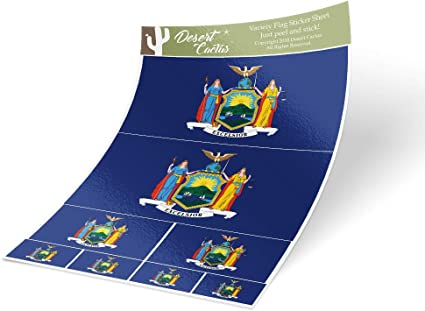 Desert Cactus New Mexico NM State Flag Sticker Decal Variety Size Pack 8 Total Pieces Kids Logo Scrapbook Car Vinyl Window Bumper Laptop V