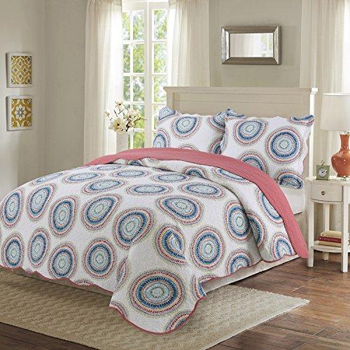 Circles King Comforter Set (vivinna Cotton Quilt King Size Sets -3pcs include 2 pillow Shams patchwork Bedspread blanket(Circles, King:106