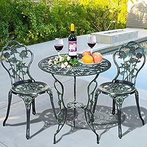 Giantex 3 Piece Bistro Set Cast Rose Design Antique Outdoor Patio Furniture Weather Resistant Garden Round Table and Chairs w/Umbrella Hole (Rose Design)