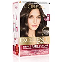L'Oreal Paris Excellence Creme Hair Color, 3 Natural Darkest Brown, 72ml+100g