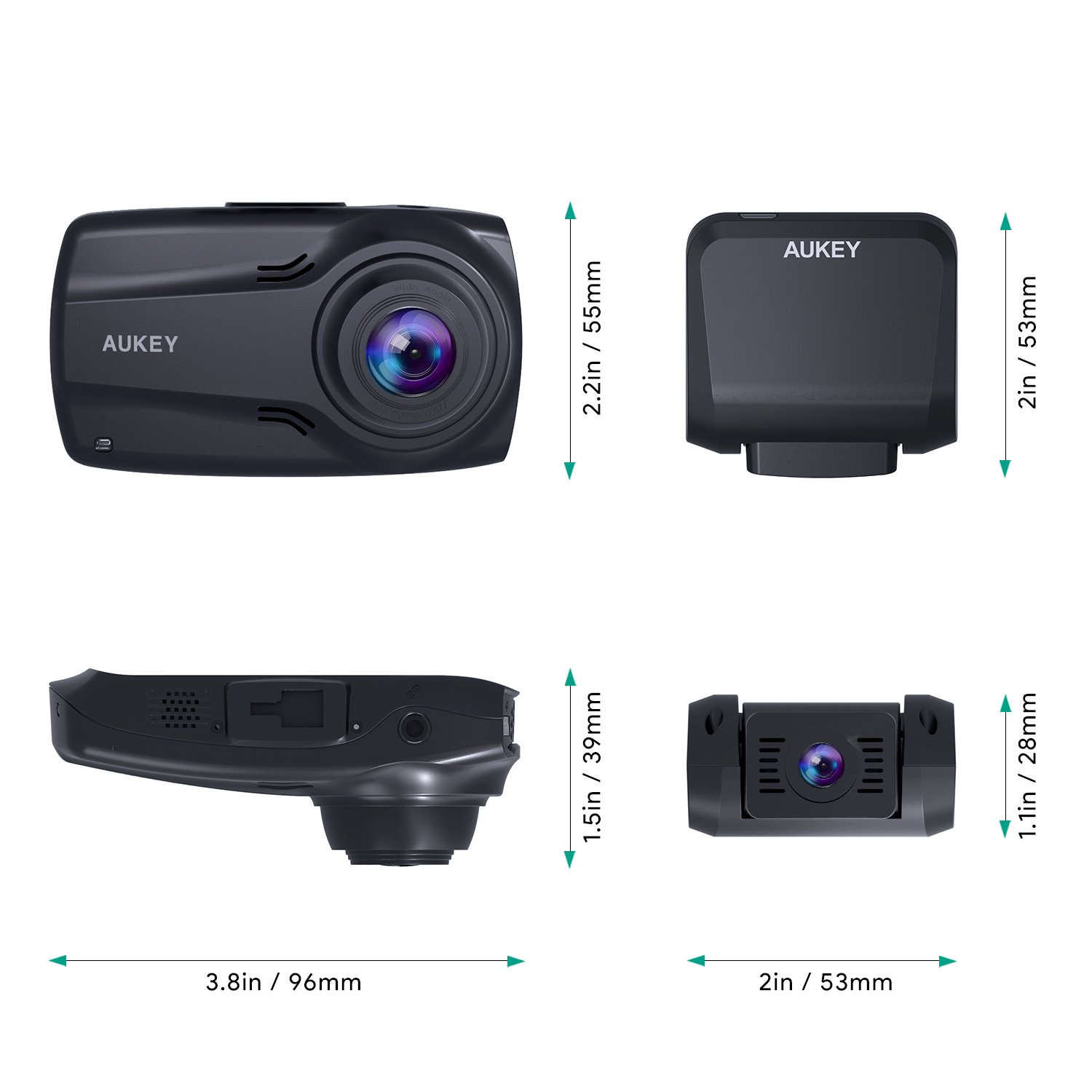 """AUKEY 1080p Dual Dash Cams with 2.7"""" Screen, Full HD Front and Rear Camera, 6-Lane 170° Wide-Angle Lens, G-Sensor, and Dual-Port Car Charger by AUKEY (Image #9)"""
