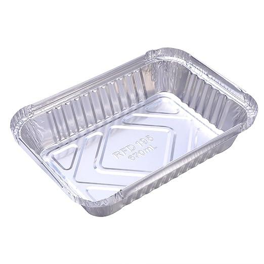 OUNONA Bandeja de aluminio de aluminio 30pcs 570ml barbacoa desechable bandeja de goteo Lin Liners para grasa Catch Pans reemplazo de bandejas del ...