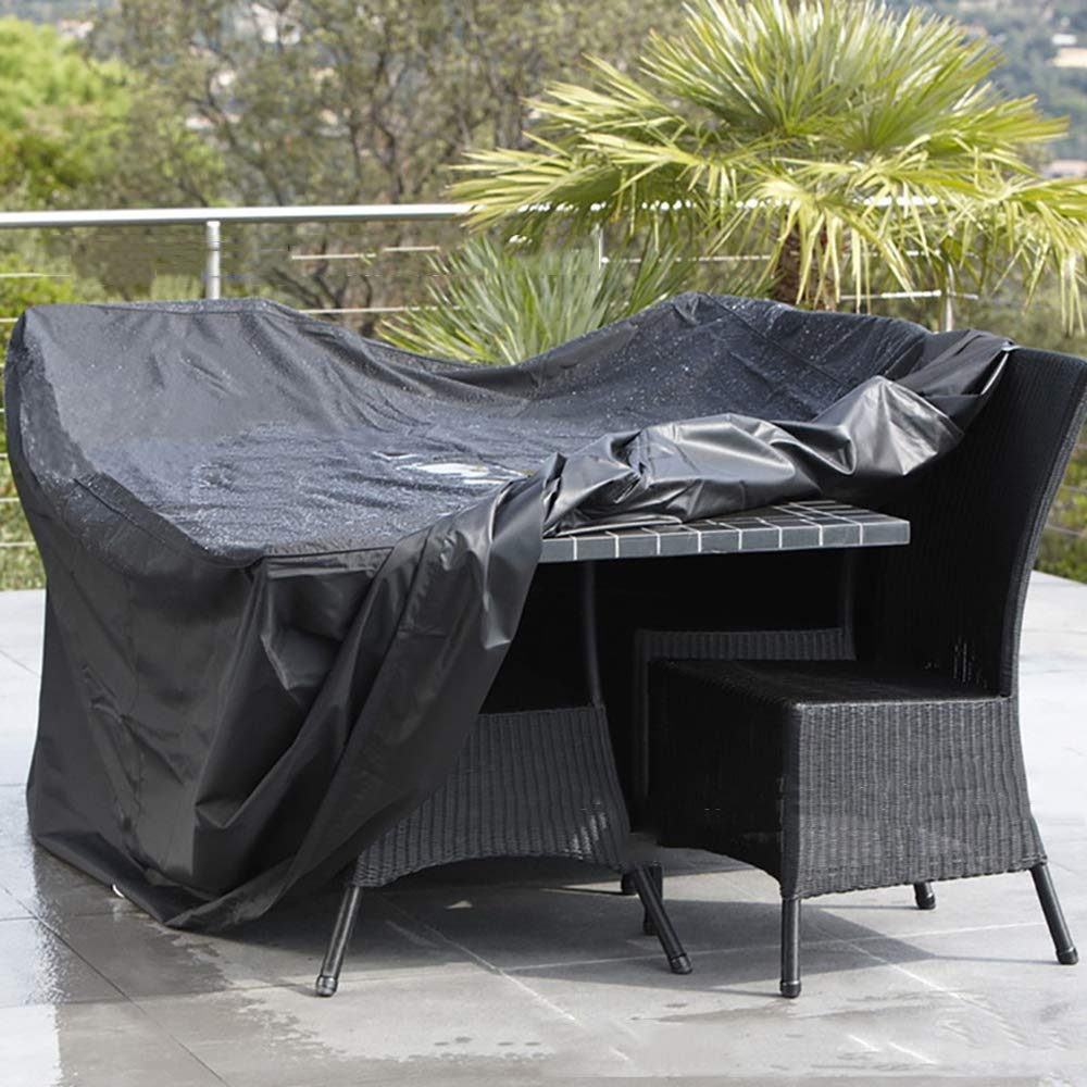 Patio Cover,Furniture Cover Protective Cover, Outdoor Patio Furniture Dust Cover, Suitable for Table Chairs Oxford Cloth Rain/Sun Protection,Black,126 * 126 * 74cm