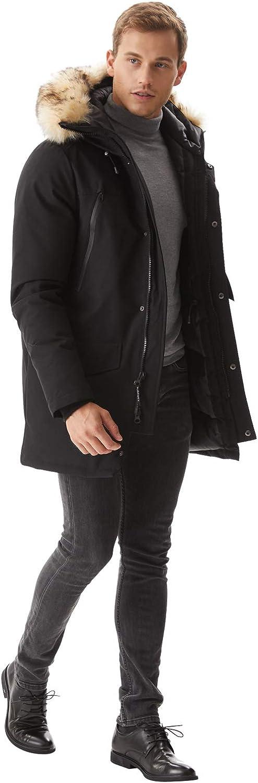Molemsx Men's Warm Winter Down Jacket Parka Puffer Coat with Hood Faux-Fur Trim XS-3XL: Clothing