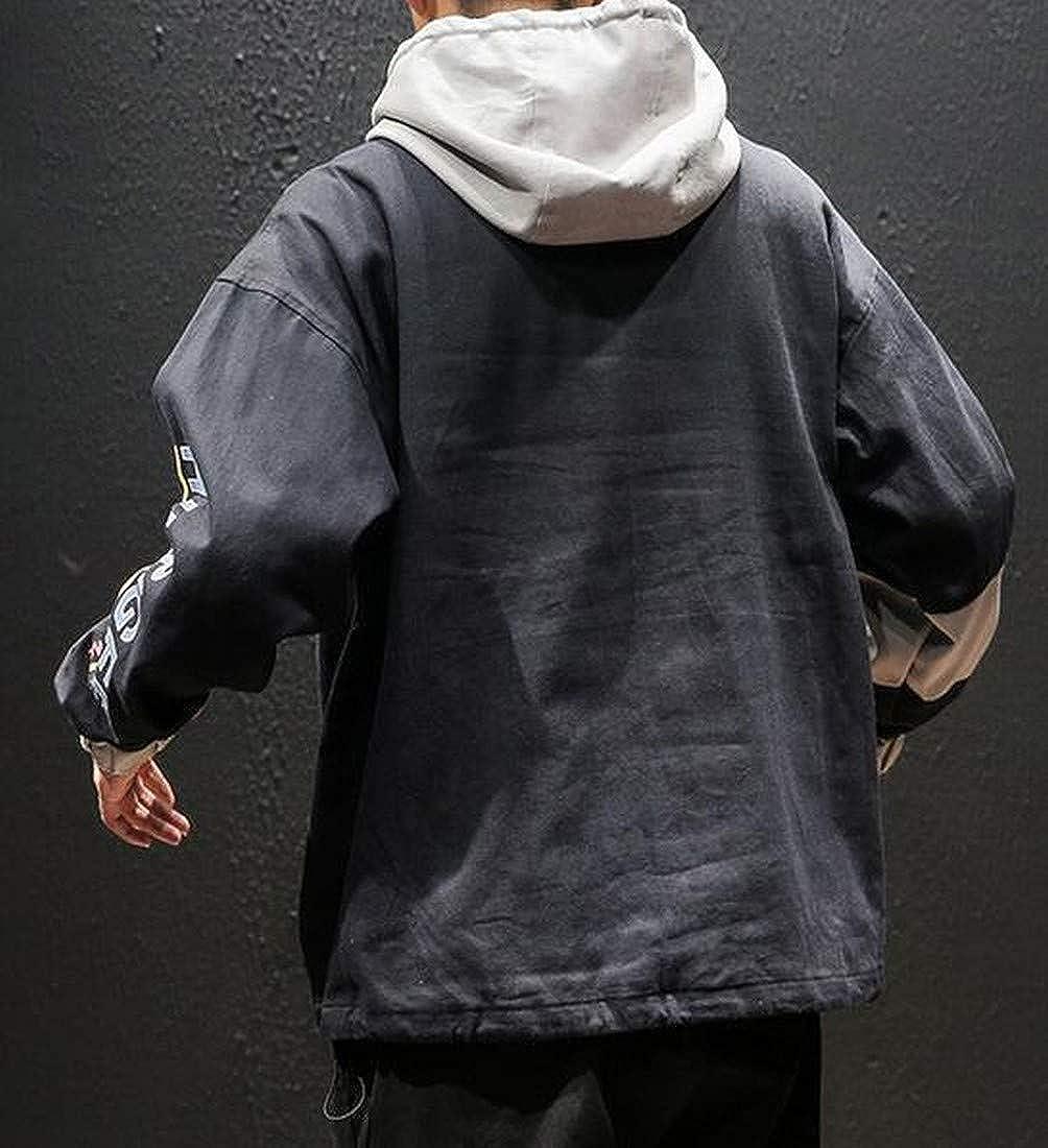 Suncolor8 Men Fake Pocket Plus Size Contrast Hip Hop Pullover Hoodies Sweatshirt