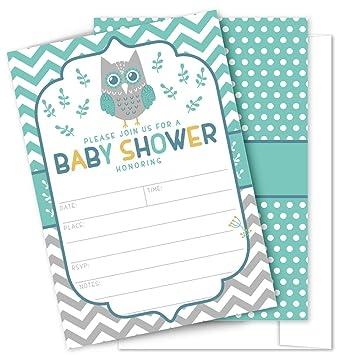 Amazon Com Owl Baby Shower Invitations 25 High Quality Owl Theme