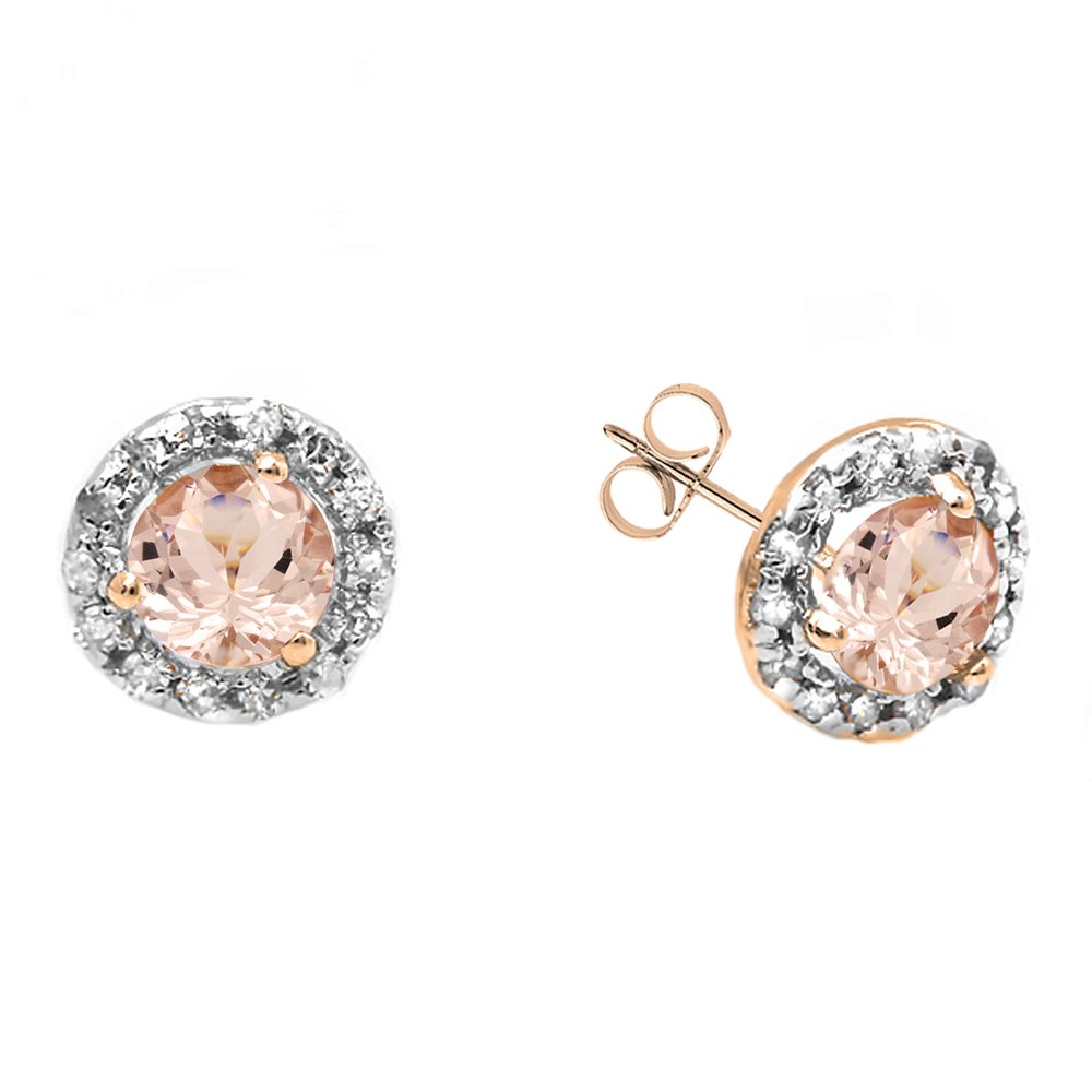 14K Rose Gold Round Morganite & White Diamond Ladies Halo Style Stud Earrings