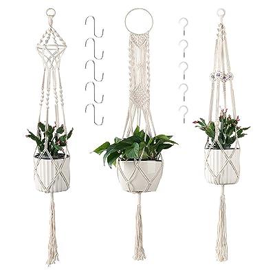 Cuttte Macrame Plant Hangers with 10 Hooks, 3 Different Pack, Indoor Outdoor Hanging Planter Basket, Hanging Plant Holders, Decorative Macrame Hangers, 4 Legs 43.3 Inch, Cream Color, Boho Decor: Garden & Outdoor