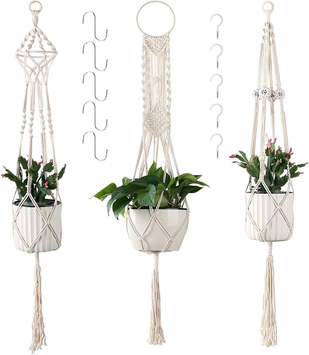 Cuttte Macrame Plant Hangers with 10 Hooks, 3 Different Pack, Indoor Outdoor Hanging Planter Basket, Hanging Plant Holders, Decorative Macrame Hangers, 4 Legs 43.3 Inch, Cream Color, Boho Decor