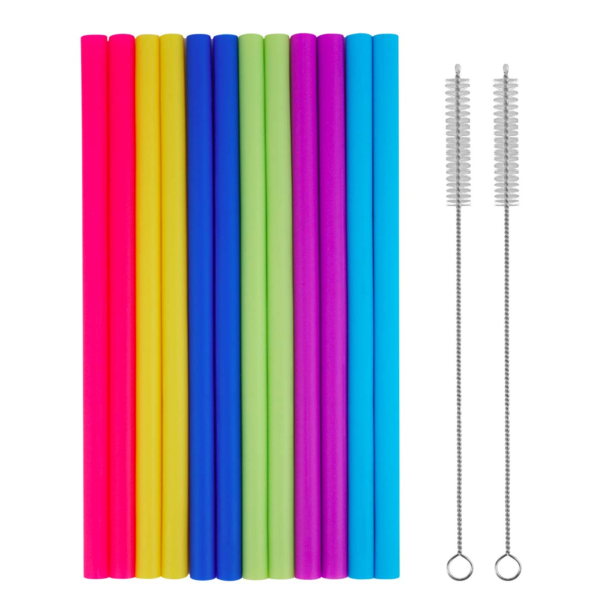 14PCS - Reusable Smoothie Straws with Cleaning Brushes, Tifanso Extra Wide Large Straws - Great for Bubble & Boba Tea, Milkshakes, 10inch Extra Long Flexible Jumbo Straws for 30oz RTIC Rambler Tumbler