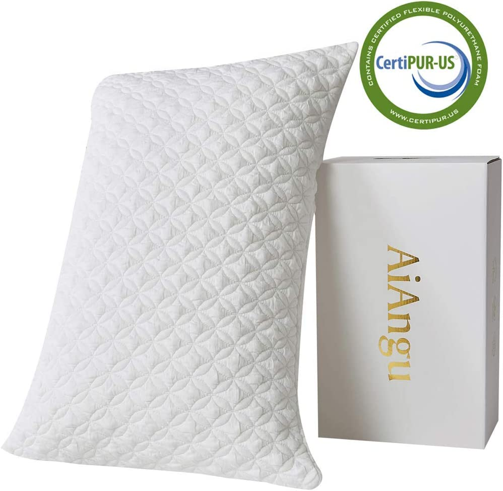 AiAngu Memory Foam Pillow for Sleeping Shredded Bed Bamboo Cooling Pillow with Adjustable Loft 3D Design Hypoallergenic Washable Removable Derived Rayon Zip Cove (Standard)