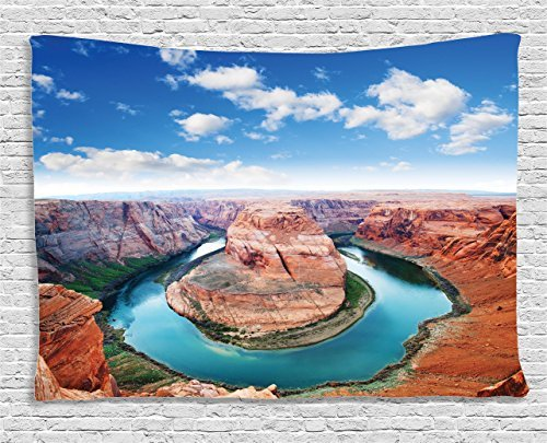Room Tapestry Wall Hanging, Horse Shoe Bend, North Rim Grand Canyon Page, Arizona, USA Famous Tourist Attractions Wall Art Tapestries for Home Bedroom Living Room Dorm Decor, 50WX59L Inches -