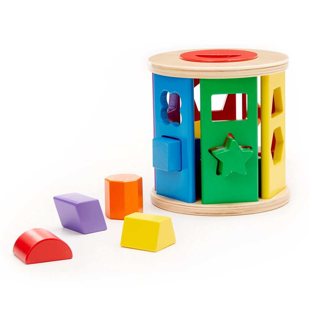 Melissa & Doug Match and Roll Shape Sorter - Classic Wooden Toy 9041