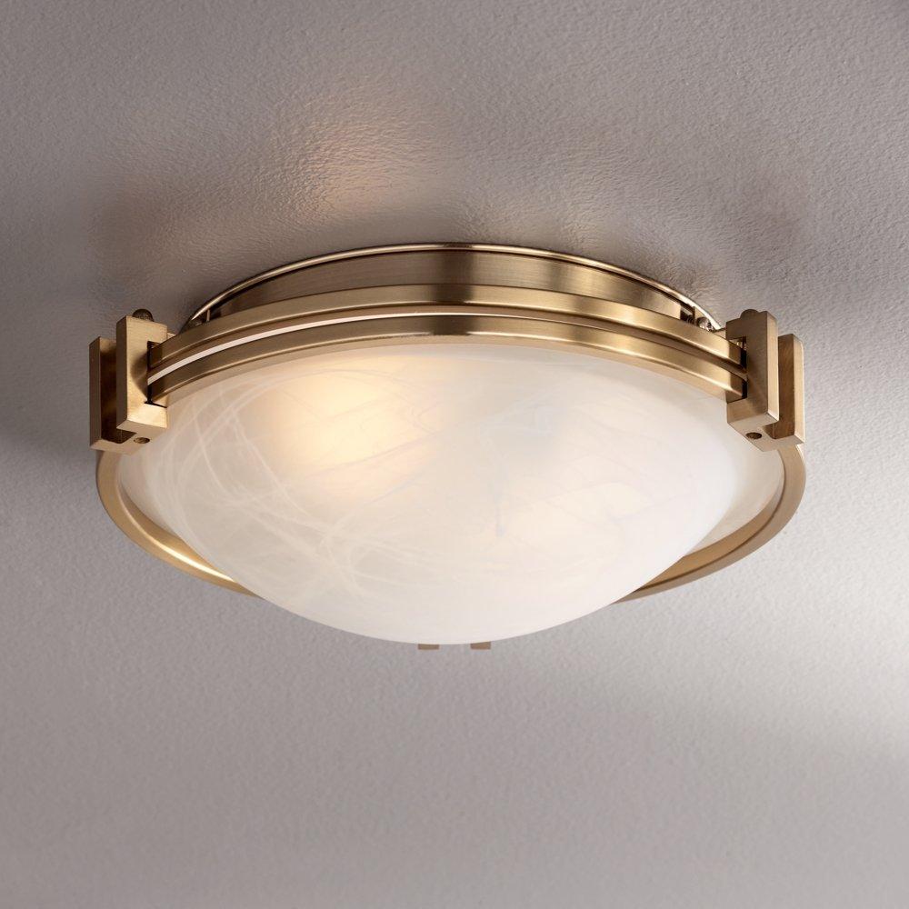 Possini euro deco 12 34 wide warm brass ceiling light amazon mozeypictures Images