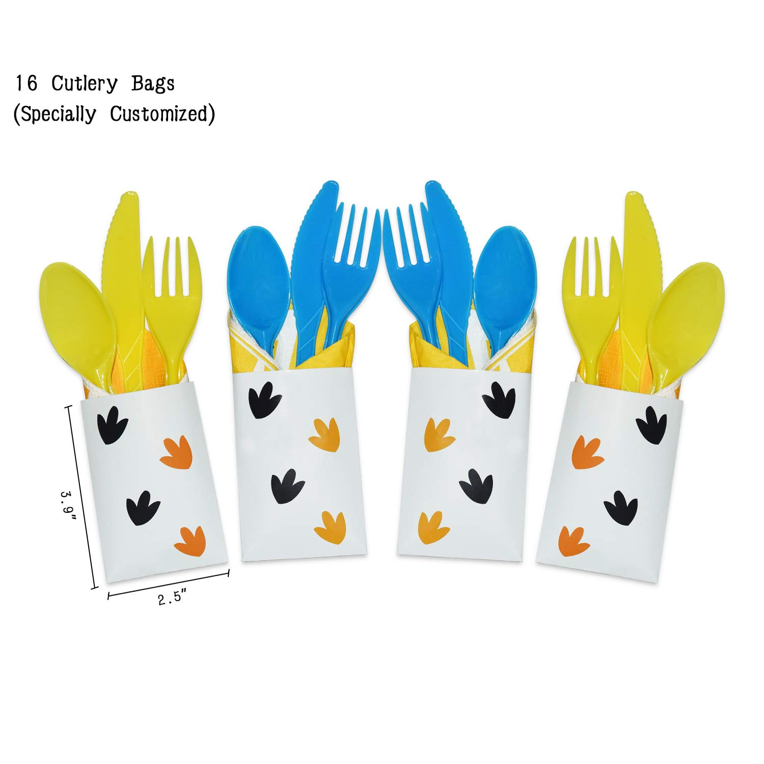 WERNNSAI Dinosaur Party Supplies Set - Dinosaur Themed Party Decoration for Boys Kids Birthday Cutlery Bag Table Cover Plates Cups Napkins Straws Utensils Banner & Balloons Serves 16 Guests 169 PCS by WERNNSAI (Image #6)