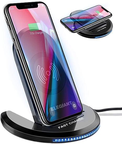 Oferta amazon: Cargador Inalámbrico, ELEGIANT Cargador Rápido Qi 10W para IOS Android Samsung Galaxy Note 20/Note 10/Note 9, S20/S10/S9, Estación Manos Libres de Ángulo Ajustable con Indicador LED Inteligente