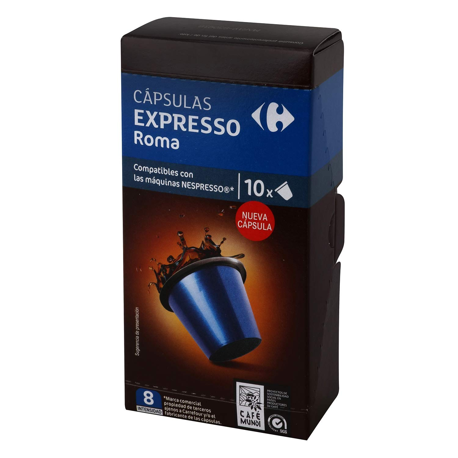 4 PACK Carrefour Roma Coffee 10 Capsules per Package (40 total x 5,2g) 52gr. - Compatible with Nespresso Machine - Made In Spain - Delicious & Healthy ...