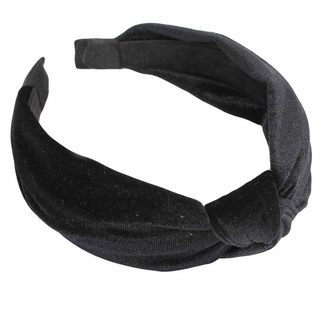 Womens Bow Knot Headband,TIFENNY Twist Cross Tie Velvet Headwrap Hair Band Hoop,Clearance! (Black)