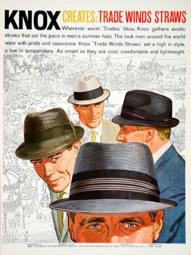 1960 Ad Vintage Knox Trade Winds Straw Summer Hats Don Draper Man Men Fashion - Original Print - Style Draper Don