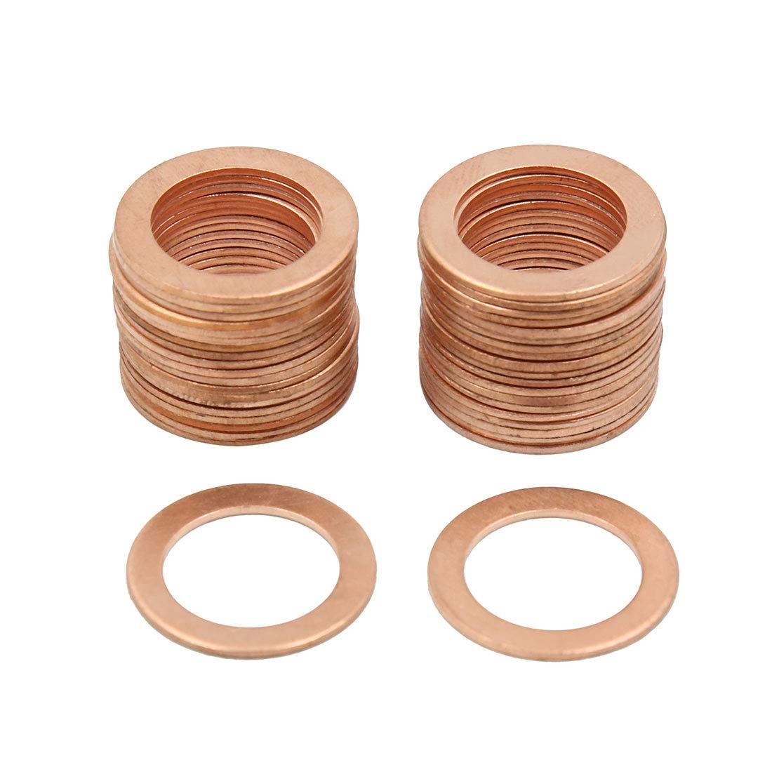 X AUTOHAUX 16mm Inner Dia Copper Crush Washers Flat Car Sealing Gaskets Rings 40pcs