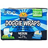 Bodhi Dog Disposable Dog Male Wraps | 20 Premium Quality Adjustable Pet Diapers with Moisture Control and Wetness Indicator | 20 Count Medium Size