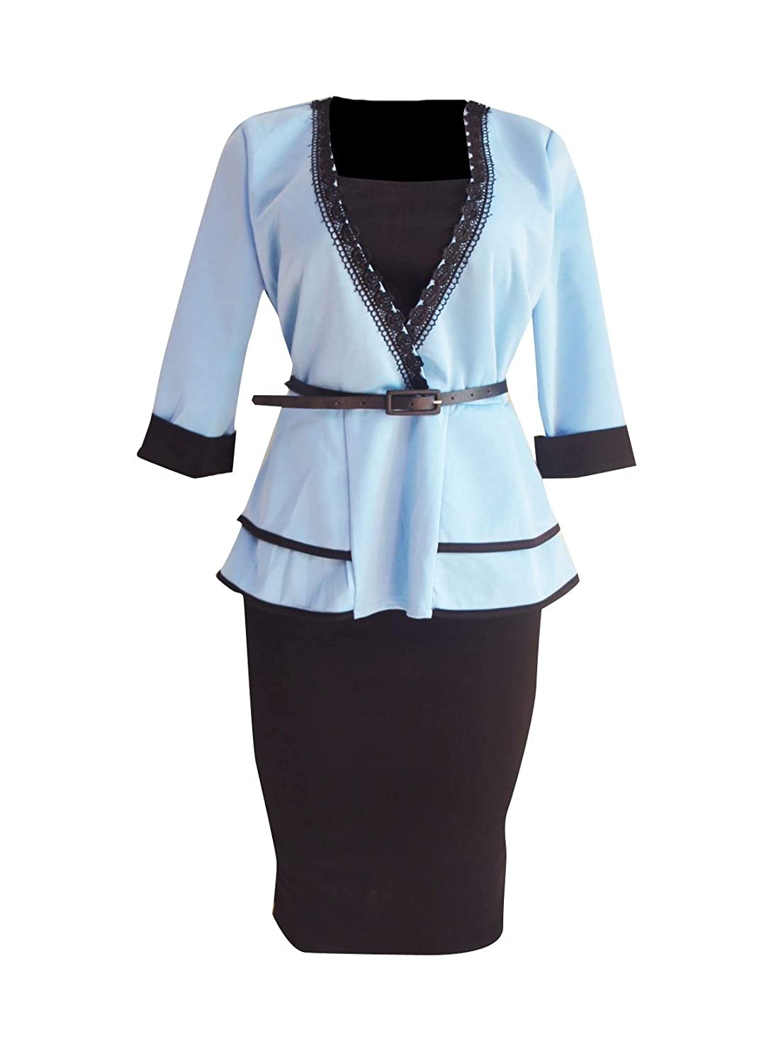 Tryist Womens Formal Business Flounced Office Shirt Jacket Skirt Suit
