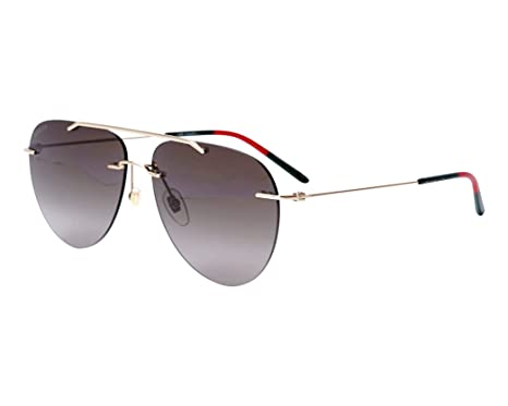 fda504983130a Amazon.com  GUCCI 0397 Endura Gold Rimless Aviator Unisex Sunglasses ...