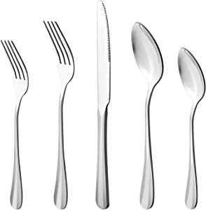 20-Piece Stainless Steel Flatware Cutlery Set, Utensils Service for 4, Include Knife/Fork/Spoon(Extra give a steak knife as a gift)