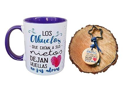 MI Pack Taza Ceramica Y Llavero Madera Frase LOS Abuelos Que ...