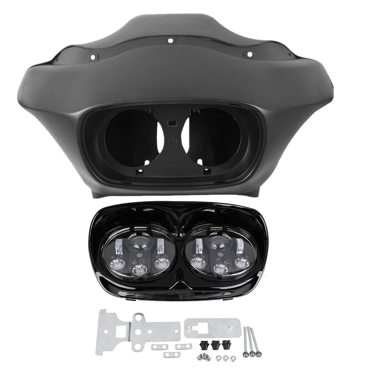 TCMT Inner Outer Fairing /& W//5.75 Dual LED Headlight Fit For Harley Road Glide 98-13 Unpainted+Black/&Chrome
