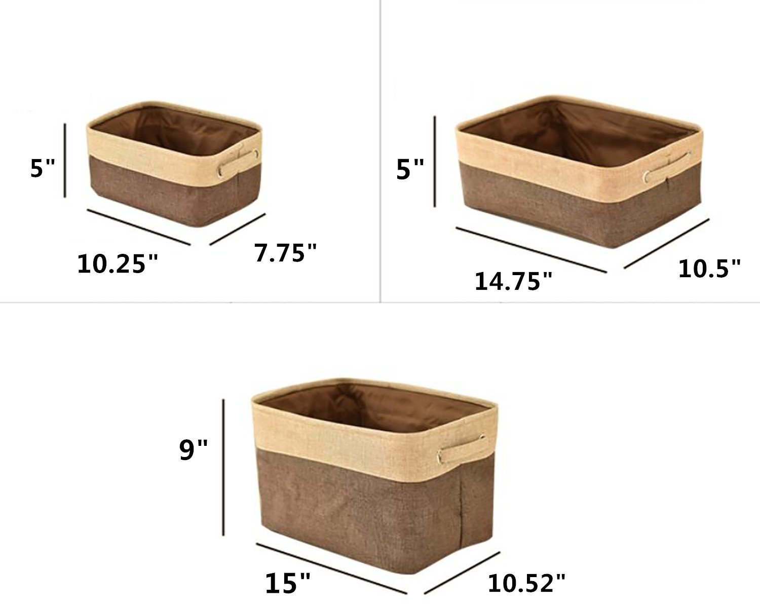 Leoyoubei Canvas Fabric Collapsible Cube Bin Set with Handles Storage Bin Organizer Basket Toy Organizer Hampers,Pet Toy Storing,(L M S) 3-Pack for Home Office Closet,Double Layer Fabric Brown/Beige - Uses: Products can be used for debris storage, clothing storage, multi-functional products. thick/large Handle for easy slide in and pull out of shelves or cabinet,Collapsible for easy storage if not in use. Children's storage bags can be hung on the walls, Protects contents against moisture and dirt. Also suitable for waste sorting. - living-room-decor, living-room, baskets-storage - 61BOJLDnIlL -