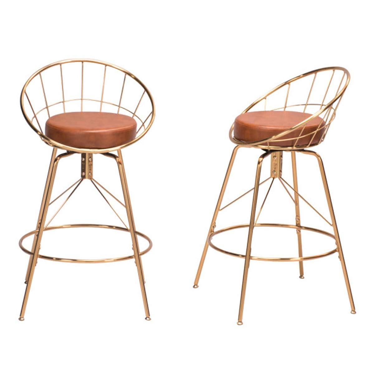 Andeworld Set of 2 Swivel Counter Height Bar Stools Industrial Gold Bar Stools (Brown, Swivel 26 Inch) by Andeworld