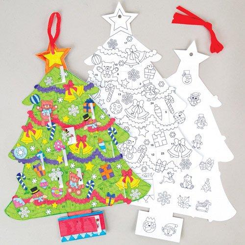 Baker Ross Calendari dell'Avvento Albero di Natale, Articoli Artistici Natalizi per Attività Fai da Te per Realizzare Decorazioni/Biglietti d'Auguri (Confezione da 3)