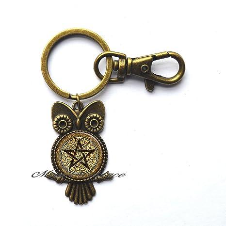Amazon.com: Encanto búho llavero, dorado pentáculo búho ...